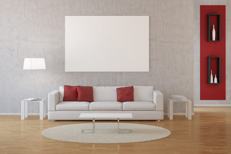 frame wall: Interior living room with sofa and carpet on hardwood floor Stock Photo
