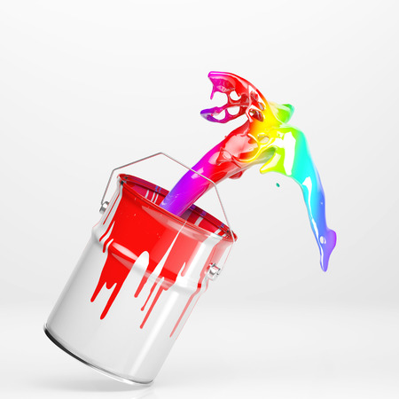 Farbeimer mit bunten Regenbogenfarben in weißem Hintergrund spritzt Standard-Bild