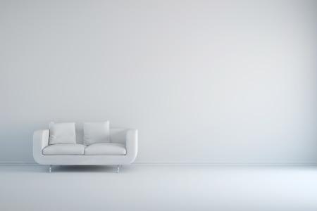 Weißer Raum mit Sofa und leerer Hintergrundwand