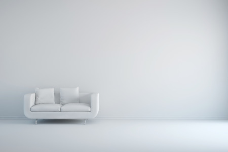 Stock Photo   White Room With Sofa And Empty Background Wall