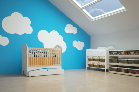wall decoration: Nursery in the attic with baby crib and other furniture Stock Photo
