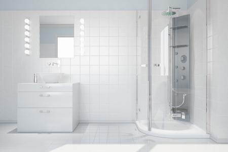 Belső világos, fehér fürdőszoba mosdóval és modern zuhanyzóval