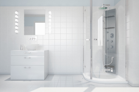 Interior of bright white bathroom with sink and modern shower