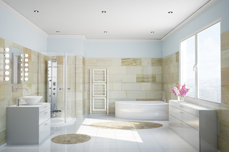 Clean modern bathroom with terracotta tiles and a bathtub 스톡 콘텐츠
