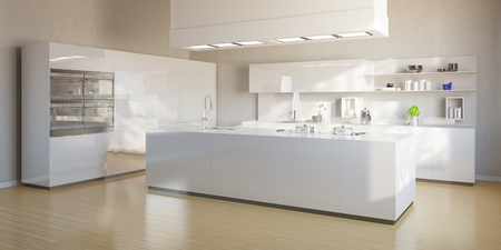 New bright kitchen with modern white kitchen island Stock fotó - 55681399