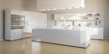 Nouvelle cuisine lumineuse avec îlot cuisine moderne blanc