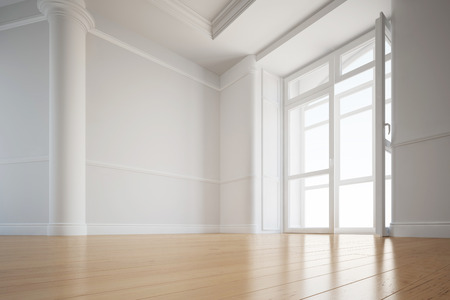 Alder hardwood floor in an empty room of an apartment