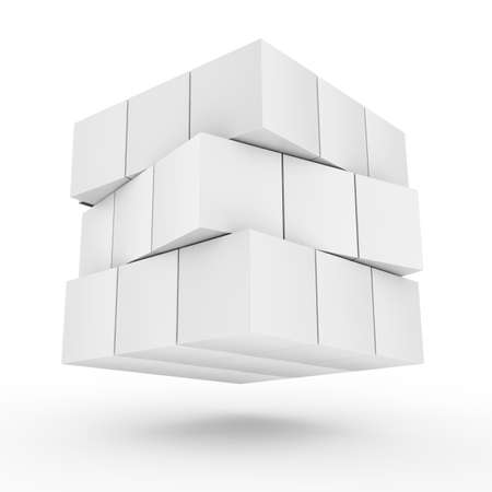 cuboid: Floating futuristic abstract square cubes in white