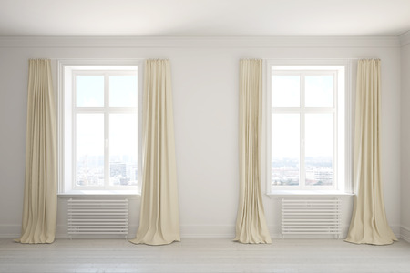 Empty room with long curtains on the windows