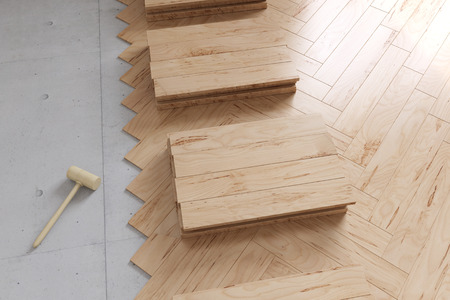 parquet flooring: Poplar parquet flooring from above during renovation of a room