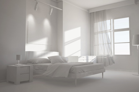 white window: White room with bed and window as bedroom