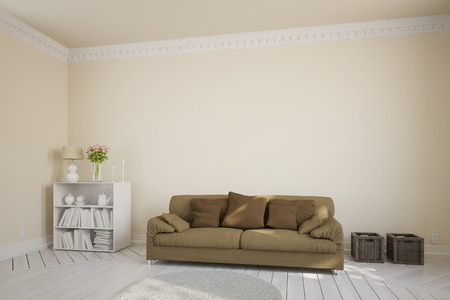stucco: Living room with a brown couch in front of a stucco wall
