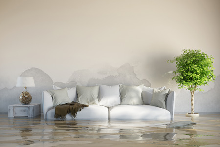 Water damage in house after flooding with stains on the wall 스톡 콘텐츠