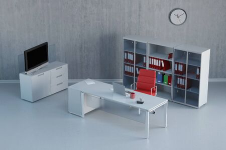 office furniture: Modern office interior with furniture with desk and computer