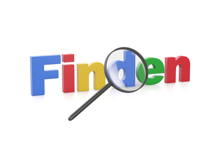 test glass: Magnifying glass with the German word Finden (finding) Stock Photo