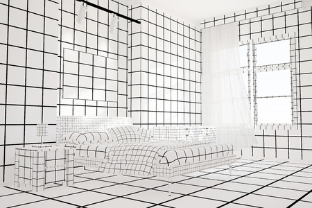 bedroom furniture: Checkered black and white bedroom with bed and furniture
