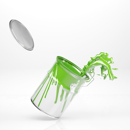 paint can: Green color splashing in paint can on white background