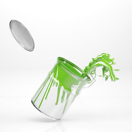 Vert éclaboussures de couleur dans la peinture boîte sur fond blanc