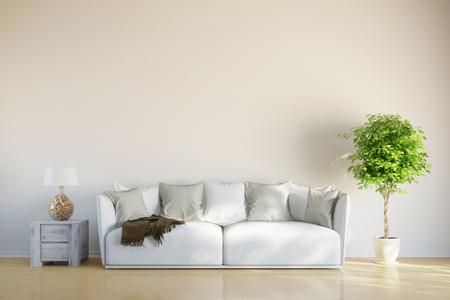 Canapé dans le salon avec un espace sur le mur pour la toile de l'image
