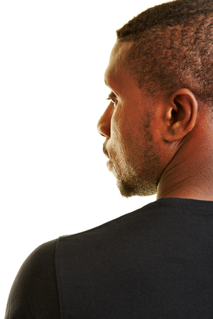 man profile: Face of black man in profile view from behind Stock Photo