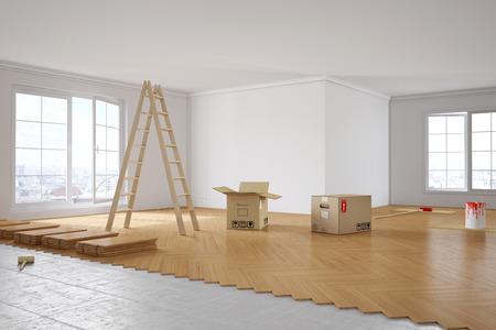 Renovatie van een kamer met parket- en schildermuren Stockfoto