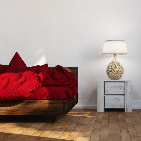 night table: Bed with red linen standing beside night table with lamp (3D Rendering)