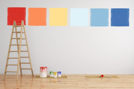 wall paint: Combination of paint colors as selection on a wall during renovation (3D Rendering)