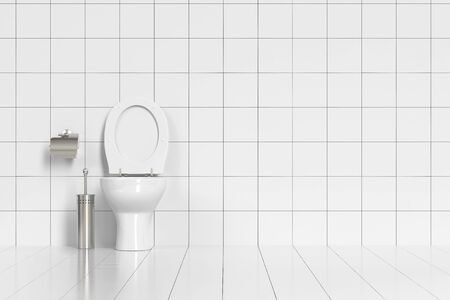 toilette: Clean tidy WC with toilette and white tiles (3D Rendering)