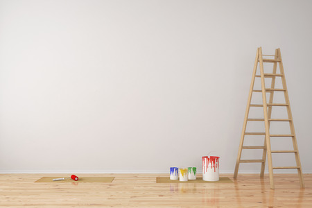 wall paint: Wall with paint cans and ladder during room renovation (3D Rendering)