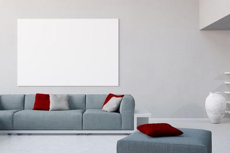 toile blanche sur le mur dans le salon sur le canapé dans un loft