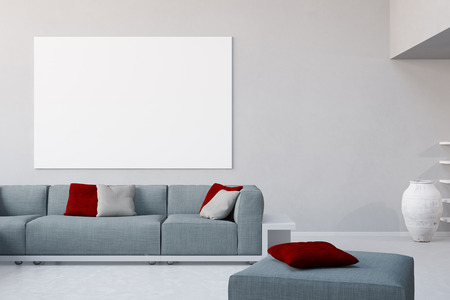 living room wall: White canvas on wall in living room over the sofa in a loft