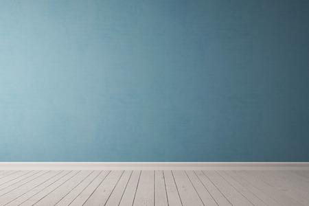 Niebieski betonowy mur w pustym pokoju jako tło Zdjęcie Seryjne