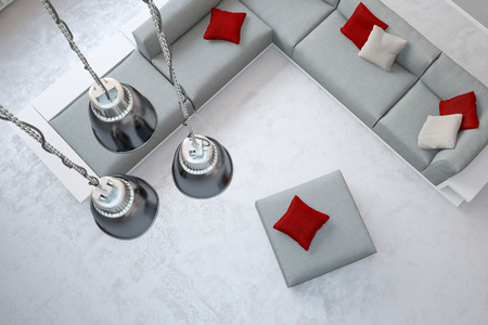 exposed concrete: Three ceiling lamps hanging in living room over sofa from above (3D Rendering) Stock Photo