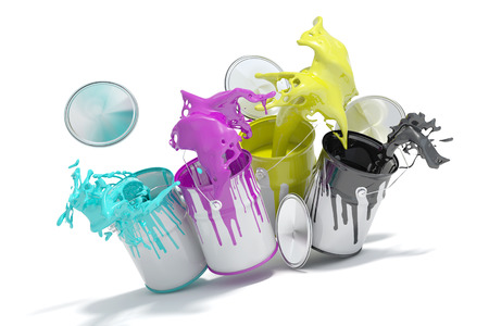 Four paint cans splashing CMYK colors for printing concept (3D Rendering)
