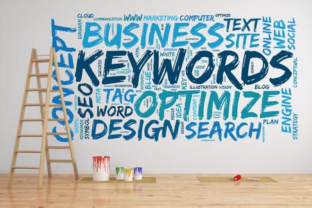 SEO keywords tag cloud op een muur met woorden als optimaliseren en zoeken (3D rendering)