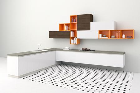 cupboards: Modern kitchenette in kitchen with orange cupboards Stock Photo
