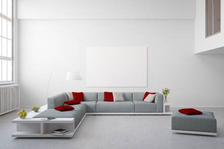 living room furniture: Big couch furniture in living room of bright modern loft