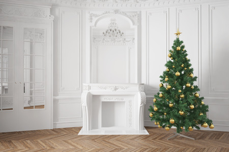Decorated christmas tree near fireplace in luxury room