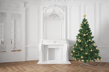 Dekoriert Weihnachtsbaum in der Nähe Kamin in Luxus-Zimmer Standard-Bild