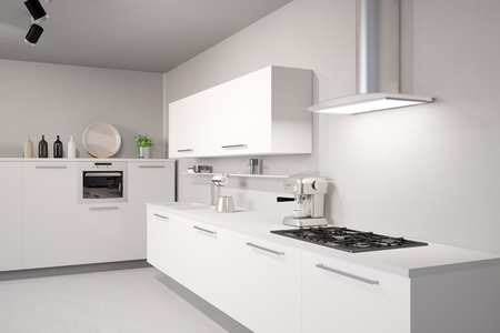 white kitchen: White new kitchen with counter top and exhaust hood
