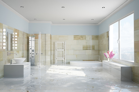 damages: Flooding in terracotta bathroom with water damage (3D Rendering)