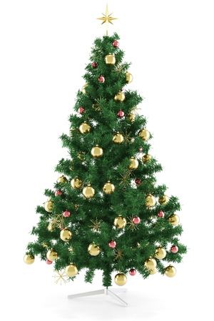 Decorated classic christmas tree with star isolated on white