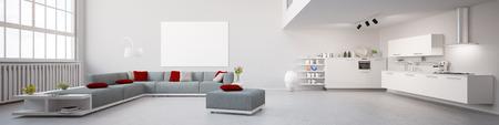 Modernes Inter Loft Panorama in 3D Lizenzfreie Bilder