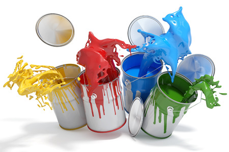 Four paint cans splashing different bright colors Stockfoto