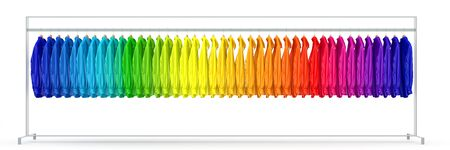 clothes rail: Panorama of clothes rail with many shirts sorted in rainbow colors (3D Rendering)