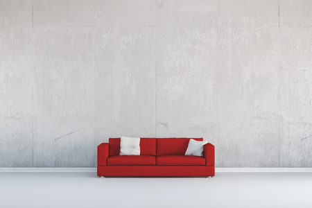 Red sofa standing in front of a concrete wall (3D Rendering)