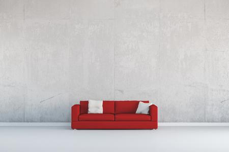 Rode bank die zich voor een betonnen muur (3D rendering)