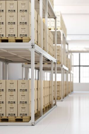 mail order: Full warehouse interior with many boxes in the shelves Stock Photo
