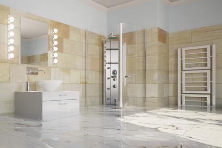Overstroming van de badkamer na waterlek met water op de vloer