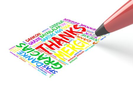 pen writing: Pen writing thank you in many languages in a greeeting card Stock Photo